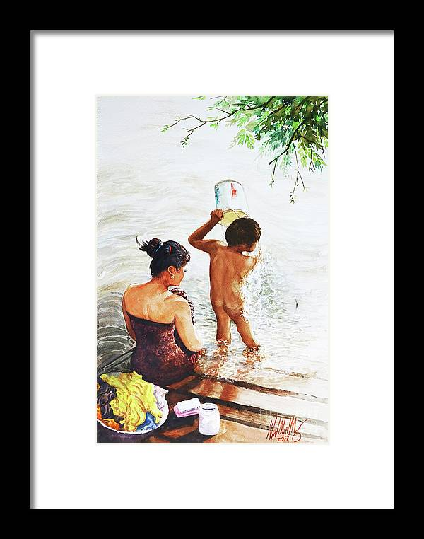 Landscape Framed Print featuring the painting Mother And Child by Win Min Mg