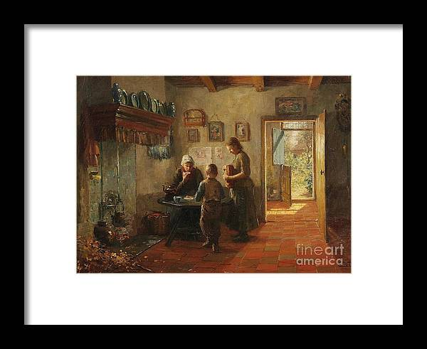 Evert Pieters Framed Print featuring the painting Mother And Children by Celestial Images