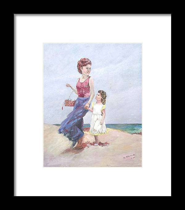 Mother Framed Print featuring the painting Mother And Daughter At The Beach by Nicholas Minniti