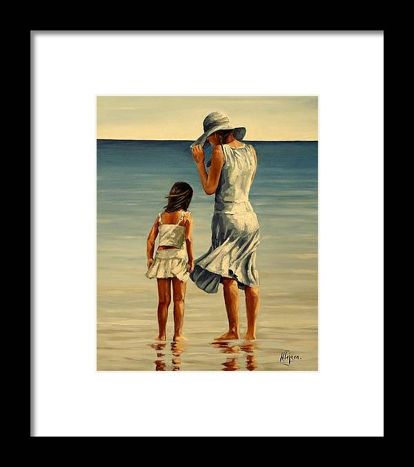 Figurative Framed Print featuring the painting Mother and daughter III by Natalia Tejera