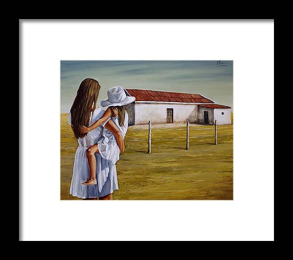Mother And Daughter Framed Print featuring the painting Mother and daughter IV by Natalia Tejera
