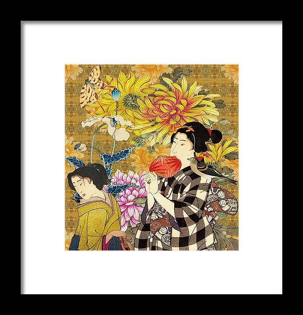 Japanese Framed Print featuring the digital art Mother and Daughter by Laura Botsford