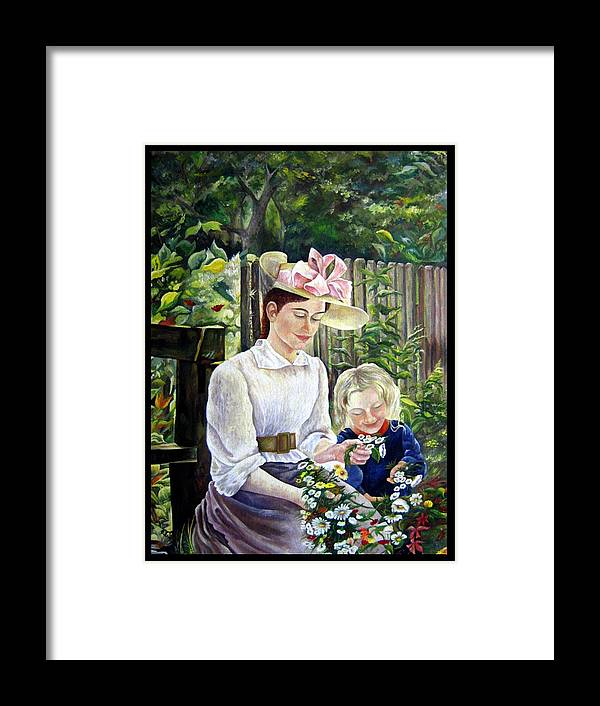 Nature Framed Print featuring the painting Mother And Daughter by Netka Dimoska