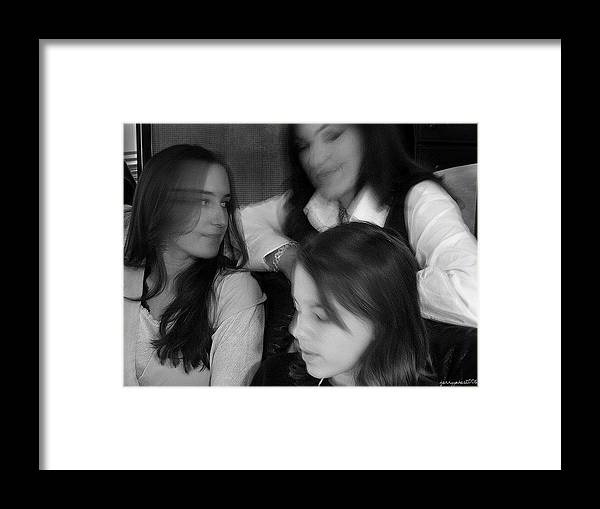 Black And White Framed Print featuring the photograph Mother And Daughters by Gerard Yates