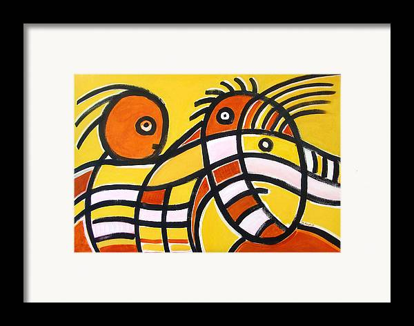 Abstract Framed Print featuring the painting mother and Son by Michael Keogh