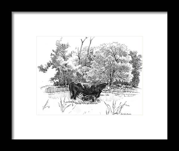 Landscape Framed Print featuring the drawing Mother And Son by Peter Muzyka