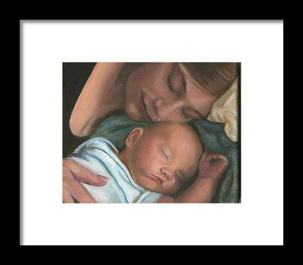Mother Framed Print featuring the painting Mother And Son by Sandra Butler
