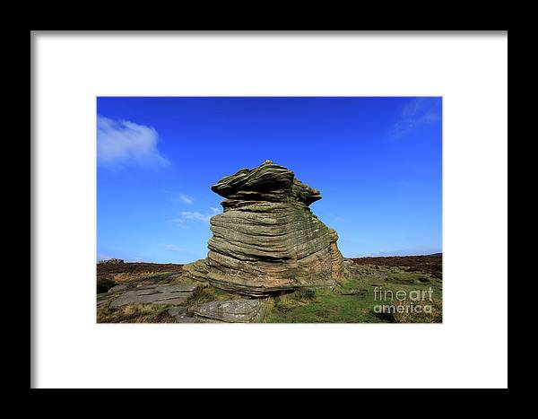 Mother Cap Framed Print featuring the photograph Mother Cap Gritstone Rock Formation, Millstone Edge by Dave Porter
