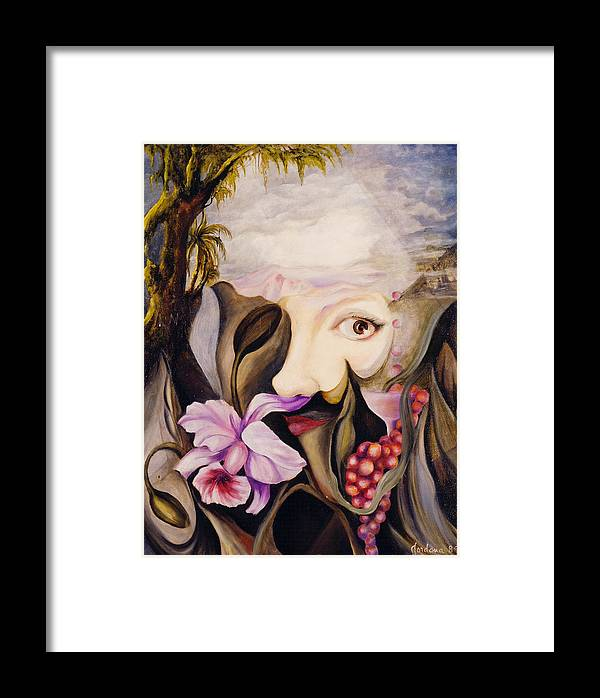 Surreal Landscape Artwork Framed Print featuring the painting Mother Earth by Jordana Sands