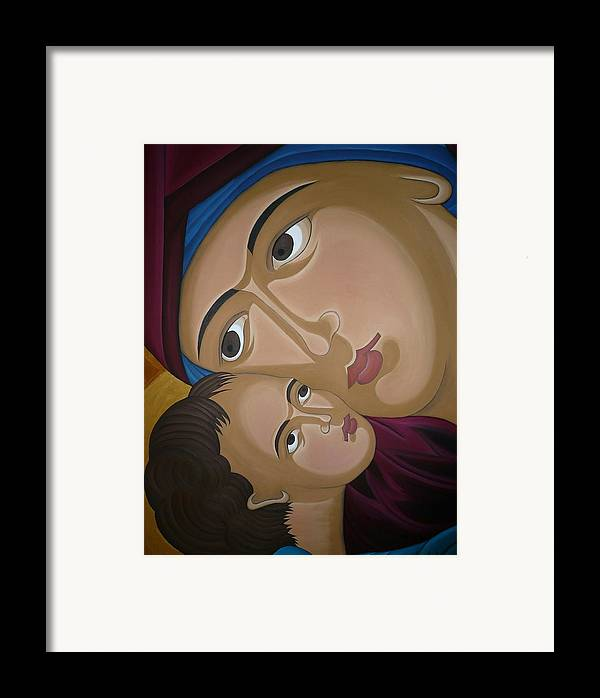 Marinella Owens Artist Oil Paintings Greek Icons Framed Print featuring the painting Mother-love by Marinella Owens