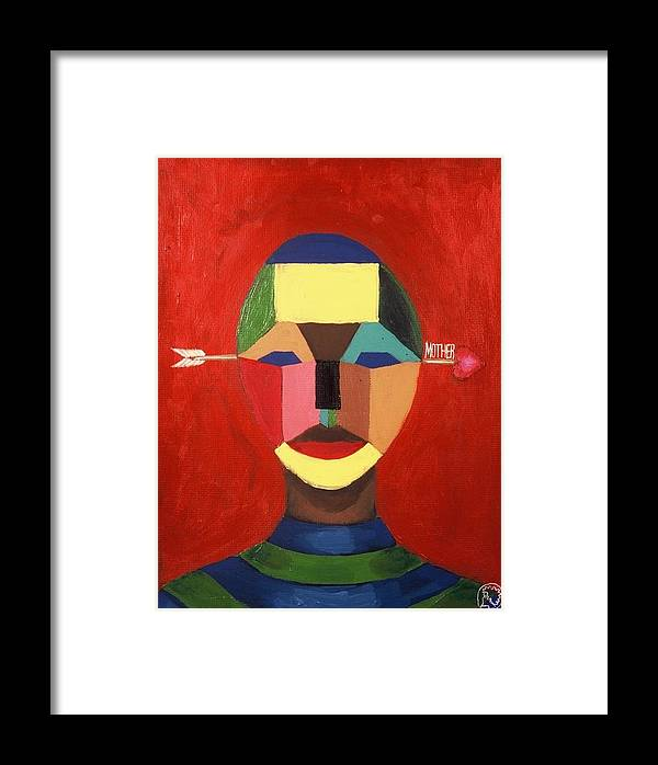 Mask Framed Print featuring the painting Mother by Malik Seneferu