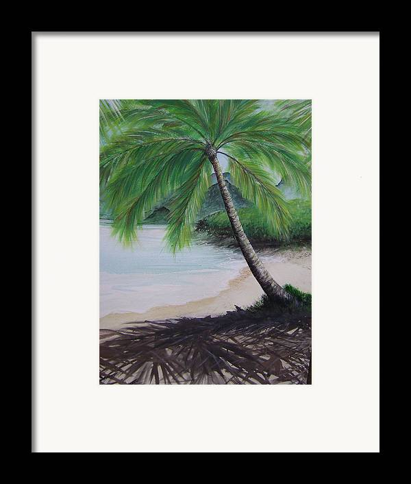 Beachscape Framed Print featuring the painting Mother Natures Umbrella by Laura Johnson