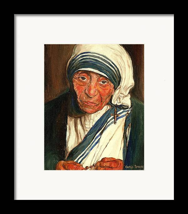 Mother Teresa Framed Print featuring the painting Mother Teresa by Carole Spandau