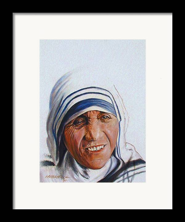 Mother Teresa Framed Print featuring the painting Mother Teresa by John Lautermilch