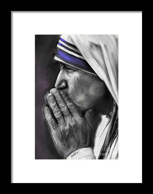 Mother Framed Print featuring the mixed media Mother Teresa Of Calcutta by Mark Tonelli