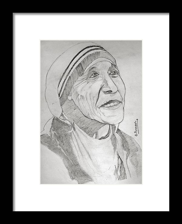 Indian Framed Print featuring the drawing Mother Teresa by SP Singh