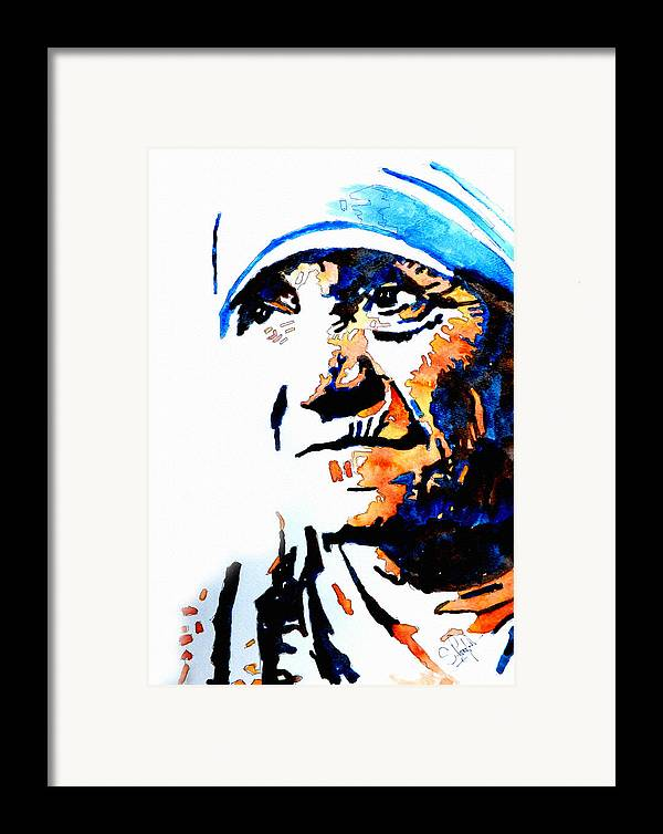 Mother Framed Print featuring the painting Mother Teresa by Steven Ponsford