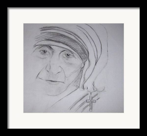 mother Theresa Framed Print featuring the drawing Mother Theresa by Valerie Wolf