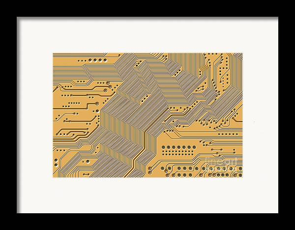 Circuit Framed Print featuring the digital art Motherboard - Printed Circuit by Michal Boubin