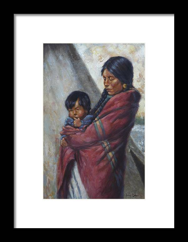 Native American Framed Print featuring the painting Motherhood by Harvie Brown