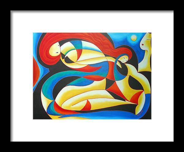 Abstract Expressionism Framed Print featuring the painting Motherhood by Marta Giraldo