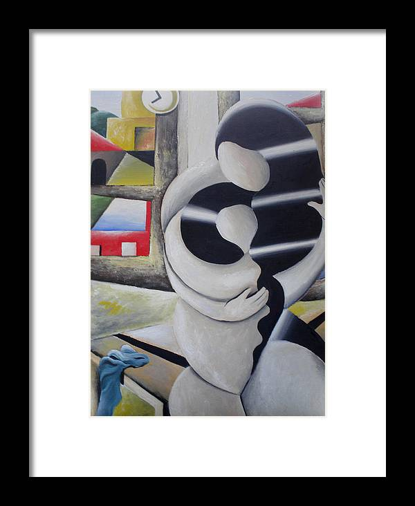 Landscape Framed Print featuring the painting Motherhood by Massimiliano Stanco