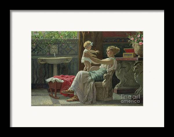 Baby; Roman; Fountain; Interior; Classicising; Classical; Antique; Scene; Mother; Child; Cradle; Maternal; Maternity; Love; Family; Smile; Laughing; Playing; Ribbon Framed Print featuring the painting Mother's Darling by Zocchi Guglielmo