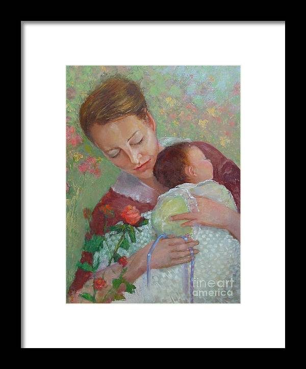 Traditional Portrait Framed Print featuring the painting Mother's Day  Copyrighted by Kathleen Hoekstra