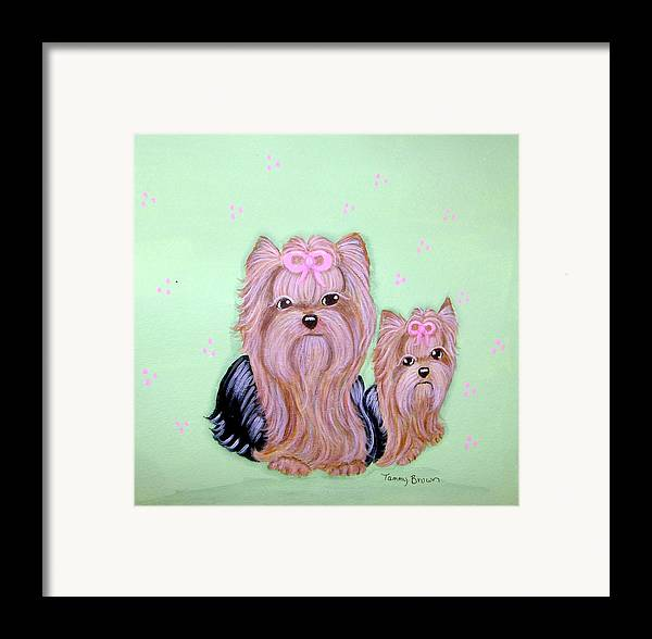 Yorkshire Terrier Framed Print featuring the painting Mother's Love by Tammy Brown