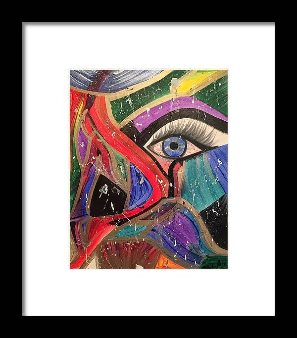 Abstract Framed Print featuring the painting Motley Eye by Alisha Anglin