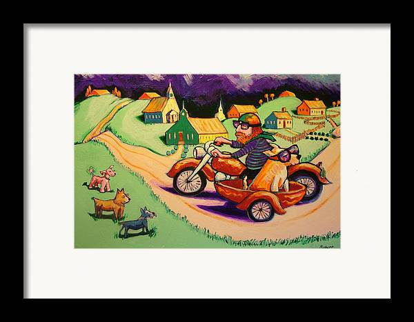 Framed Print featuring the painting Motocycle Mike by Robert Tarr
