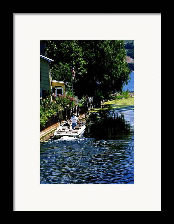 Seneca Lake Framed Print featuring the photograph Motor Boat On Canal by Roger Soule