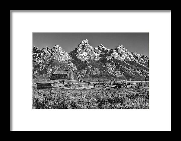 Grand Teton Framed Print featuring the photograph Moulton Cabin - Grand Tetons II by Sandra Bronstein