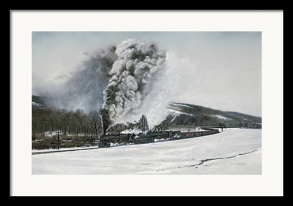 Trains Framed Print featuring the painting Mount Carmel Eruption by David Mittner