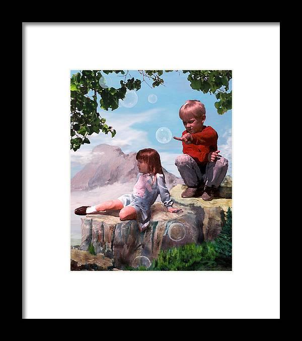 Landscape Framed Print featuring the painting Mount Innocence by Steve Karol