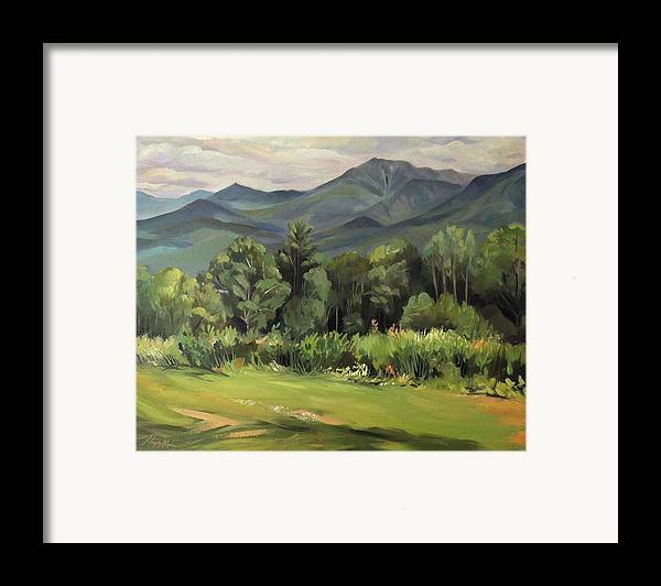 White Mountain Paintngs Framed Print featuring the painting Mount Lafayette From Sugar Hill New Hampshire by Nancy Griswold