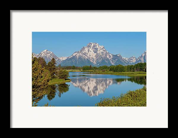 Mount Moran On Snake River At Oxbow Bend Grand Teton National Park Framed Print featuring the photograph Mount Moran On Snake River Landscape by Brian Harig