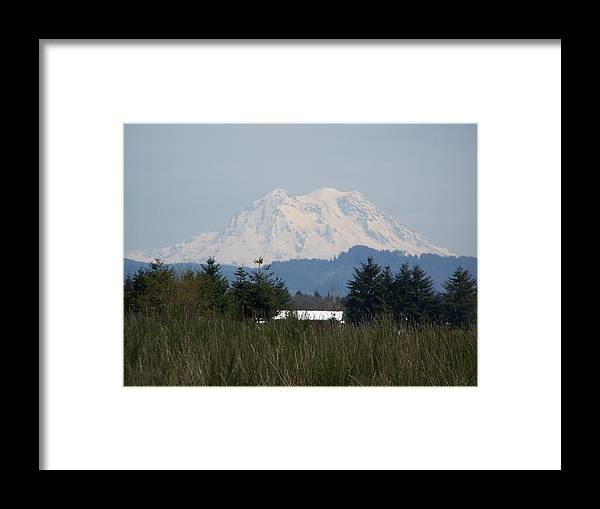 Digital Photography Framed Print featuring the photograph Mount Rainier Again by Laurie Kidd
