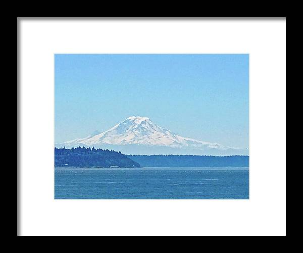 Mount Rainier Framed Print featuring the photograph Mount Rainier From Puget Sound by Don Mercer