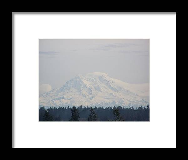 Digital Photography Framed Print featuring the photograph Mount Rainier March Snow by Laurie Kidd