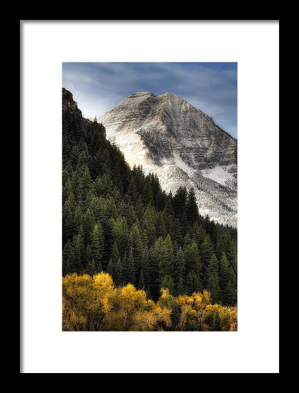 Mountain; Peak; Peaks; Mount Timpanogos Wilderness; Wasatch Mountains; Mt; Mts; Autumn; Fall; Winter Framed Print featuring the photograph Mount Timpanogos 1 by Douglas Pulsipher