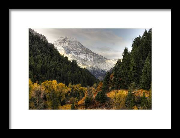 Mountain; Peak; Peaks; Mount Timpanogos Wilderness; Wasatch Mountains; Mt; Mts; Autumn; Fall; Winter Framed Print featuring the photograph Mount Timpanogos 2 by Douglas Pulsipher