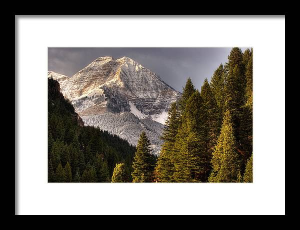Mountain; Peak; Peaks; Mount Timpanogos Wilderness; Wasatch Mountains; Mt; Mts; Autumn; Fall; Winter Framed Print featuring the photograph Mount Timpanogos 3 by Douglas Pulsipher