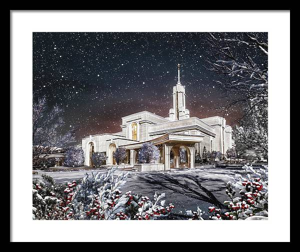 Mount Framed Print featuring the painting Mount Timpanogos Temple #3 by Brent Borup