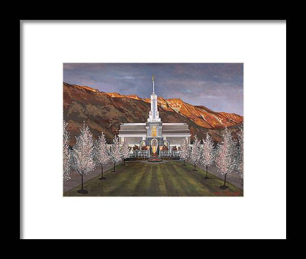 Temple Framed Print featuring the painting Mount Timpanogos Temple by Jeff Brimley