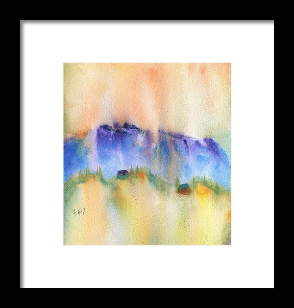 Mountain And Hill Abstract Framed Print featuring the painting Mountain And Hill Abstract by Frank Bright