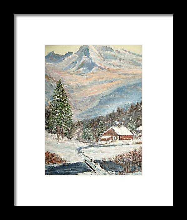 Landscape Mountains Cabin River Trees Framed Print featuring the painting Mountain Cabin by Kenneth LePoidevin