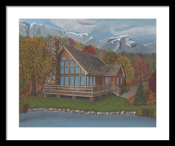 Mountian Framed Print featuring the painting Mountain Cabin by TJ Word