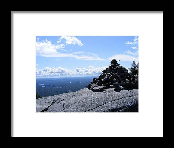Mountain Framed Print featuring the photograph Mountain Cairn by Alison Heckard