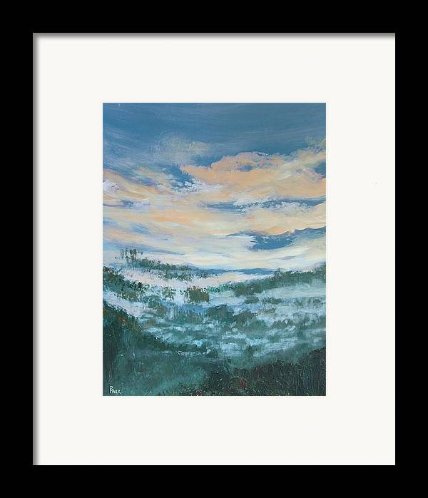 Landscape Framed Print featuring the painting Mountain Dew II by Pete Maier